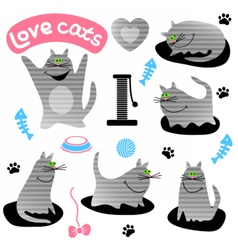 Set of funny gray cats vector