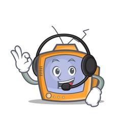 Tv character cartoon object with headphone vector