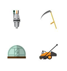 Flat icon dacha set of cutter lawn mower pump vector