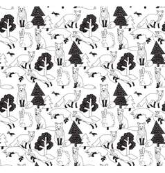 Fox forest black and white seamless nature pattern vector image vector image
