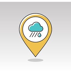 Rain Cloud pin map icon Downpour Weather vector image