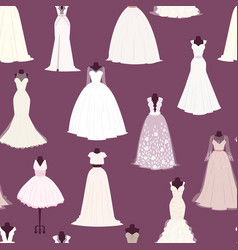 wedding bride dress seamless pattern vector image vector image