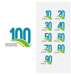 100 year anniversary celebration set template vector