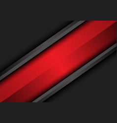 abstract red banner slash on dark grey metallic vector image