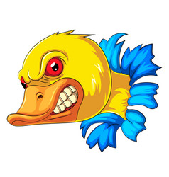Angry duck head mascot vector