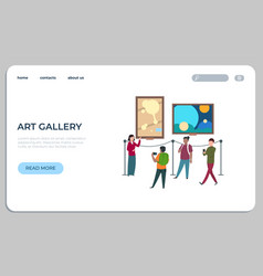 Art works landing page viewers walk and watch vector