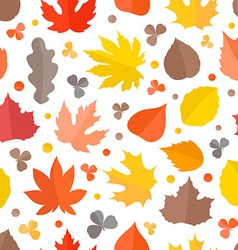 Autumn seamless pattern fall leaves collection vector