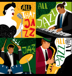 banners jazz band play on musical instruments vector image