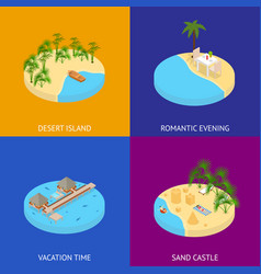 beach vacation banner card set 3d isometric view vector image