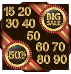 Big sale set golden label with ribbons vector