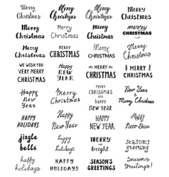 Big set of Handwritten phrase Merry Christmas vector image