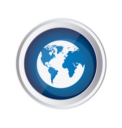 Blue emblem earth planet icon vector