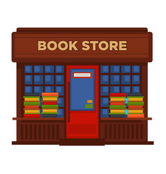 Bookstore or bookshop booth facade building vector