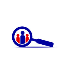 Businessman and search logo template vector
