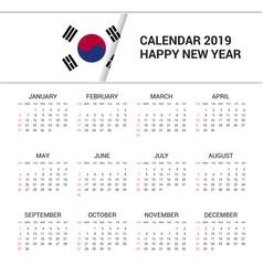 Calendar 2019 korea south flag background english vector