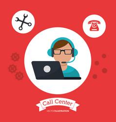 Call center man wearing headphones service vector