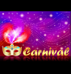 Carnival poster with gold mask with rhinestones vector