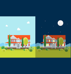 Cartoon house building day and night vector