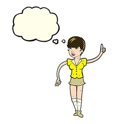 Cartoon pretty girl asking question with thought vector