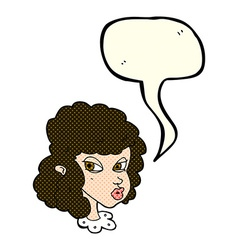 Cartoon suspicious woman with speech bubble vector