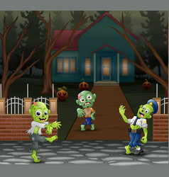 Cartoon three zombie in front of the scary house vector