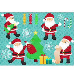 Chrismas set with santa clauses candies vector