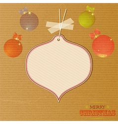 Christmas message tag over decorated brownpaper vector image