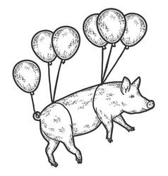 Circus a pig flies on balloons engraving vector