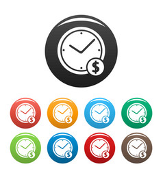 clock money icons set simple vector image