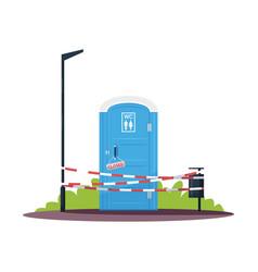 Closed public toilet semi flat rgb color vector