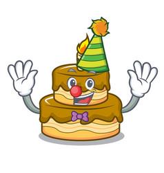 Clown birthday cake mascot cartoon vector