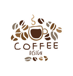 coffee hand drawn original logo design vector image