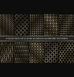 collection of art deco geometric patterns vector image
