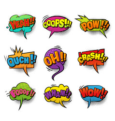 Comic bright speech bubbles set vector