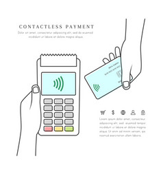 Contactless payment with pos terminal and card vector