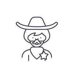 cowboy line icon concept cowboy linear vector image