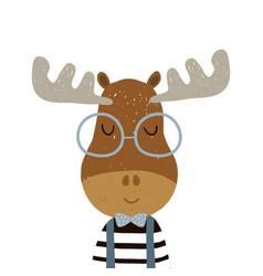 Cute cartoon elk boy character childish print vector