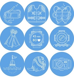 Diving sport icons collection vector image