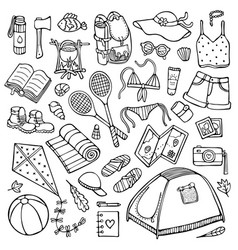 Doodle summer camping elements isolated on white vector