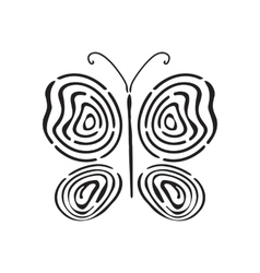 Fingerprint hand drawn butterfly vector