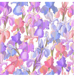 Floral seamless pattern with irises vector