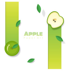 fresh apple fruit background in paper art style vector image