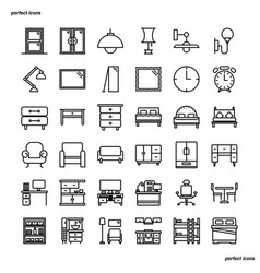 furniture and home decoration outline icons vector image