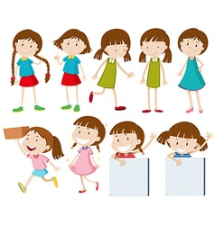 Girls doing different actions vector image