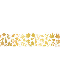 Gold foil leaves seamless border foliage vector