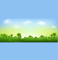 Green landscape isolated with clouds and sky vector