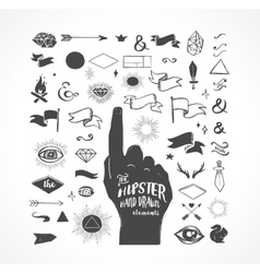 Hipster hand drawn shapes icons elements vector