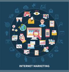 internet marketing round composition vector image