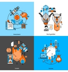 Investment And Money Line Icons Set vector image