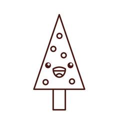 kawaii christmas tree pine decoration celebration vector image